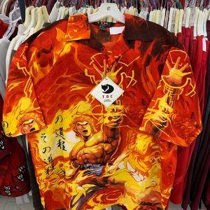 Tiger wong all over print satin vintage shirt